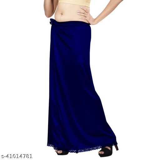 Premium Satin Women's Petticoat Free Size Royal Blue