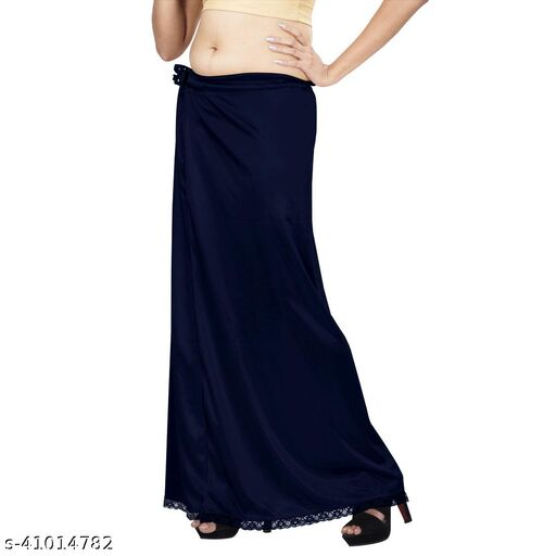 Premium Satin Women's Petticoat Free Size Navy Blue