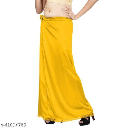 Premium Satin Women's Petticoat Free Size Yellow