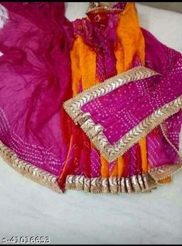rajasthani art silk bhandej dupatta and fancey bhandhani saree