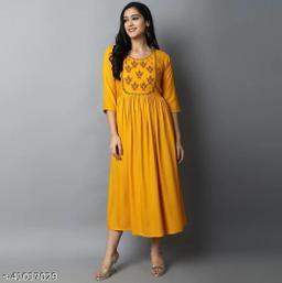 womens rayon embroidey long kurta