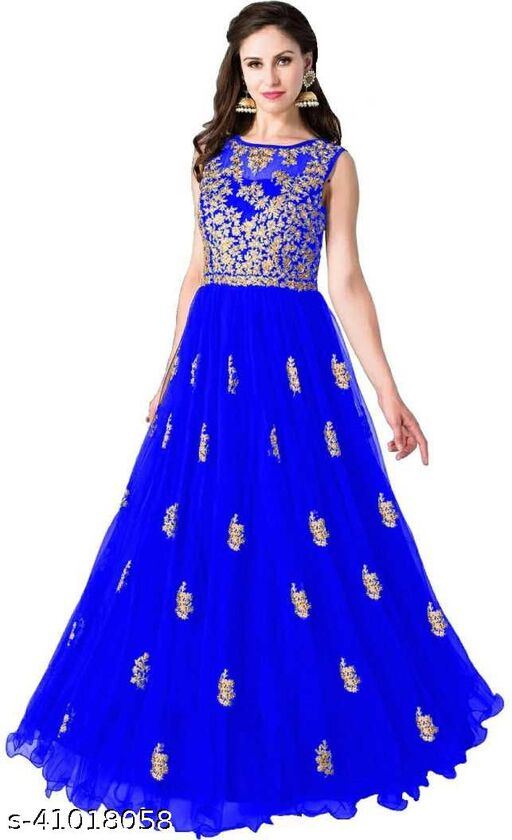 Latest Design Pure Soft Net Fabric With Embroidered Zari Work With Semi Stitched Gown