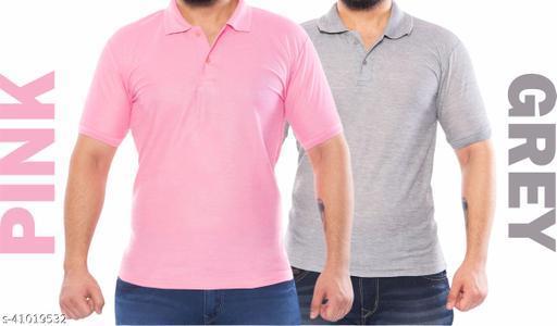 Pink tshirt grey tshirt mens tshirt collar tshirt polo tshirt pink polo tshirt grey combo