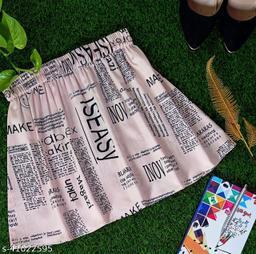 Newspaper Print Skirt For Women - Light Pink