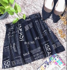 Newspaper Print Skirt For Women - Black