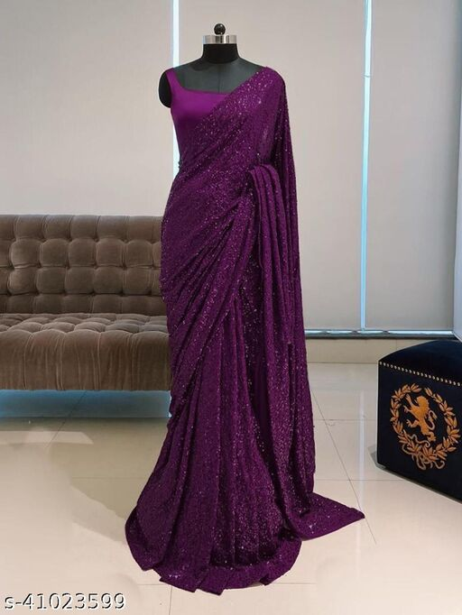 WOMEN'S BEST PARTY WEAR SAREES GEORGETTE WITH EMBROIDERY SEQUENCE DESIGN WORK