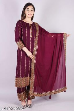 Women Rayon Embroidered Printed Kurta With Embroiidered Pant And Embroidered Border Dupatta Set