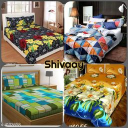 Fashionable Polycotton Double Bedsheets Combo (Pack Of 4)