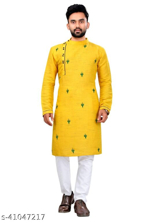 Men's Cotton Yellow Color Embroidered Kurta With Pyjama Set