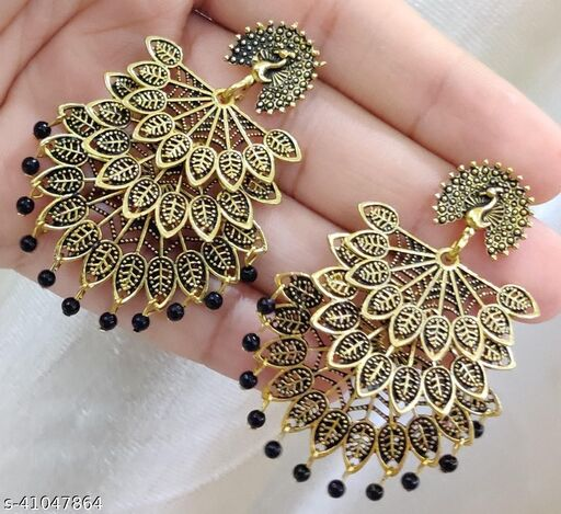 Latest Collection 3 Layer Morr earrings for Girls and Woman (Black Color)