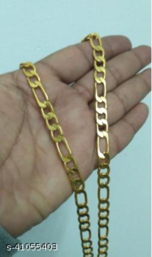 Jewar Mandi One Gram Gold Plated 24 Inch Long Link Chain For Daily Use Stylish Designer Real Look For Men, Women, Boys & Girls