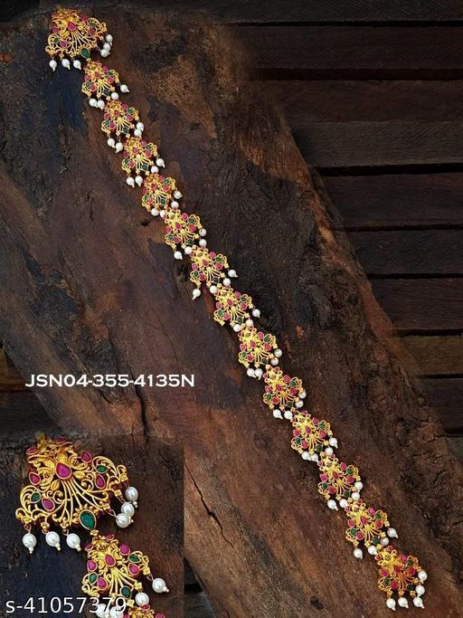Matt Gold Finish Kemp Studded Bridal Wear Laxmi Jada Bila Juda JSN04-355-4135N