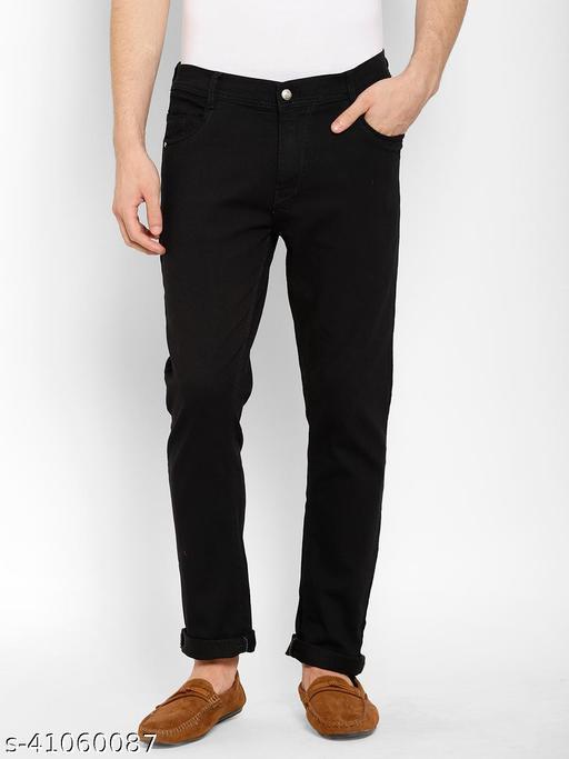Cape Canary Men's Black Cotton Lycra Denim Mid-Rise Slim Fit Jeans