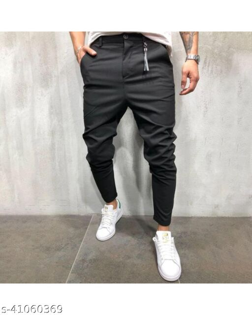 FLYNOFF Black Solid 4Way Lycra Tailored Fit Ankle Length Men's  Trouser