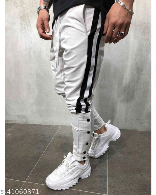 FLYNOFF White Solid 4Way Lycra Tailored Fit Ankle Length Men's Trouser