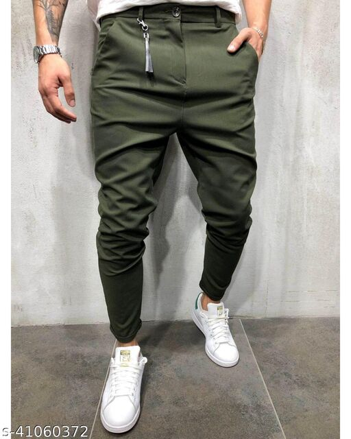 FLYNOFF Olive Solid 4Way Lycra Tailored Fit Ankle Length Men's  Trouser