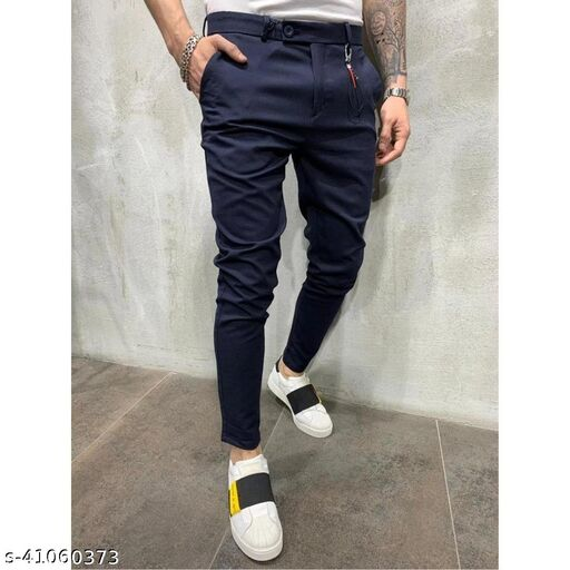 FLYNOFF Blue Solid 4Way Lycra Tailored Fit Ankle Length Men's  Trouser