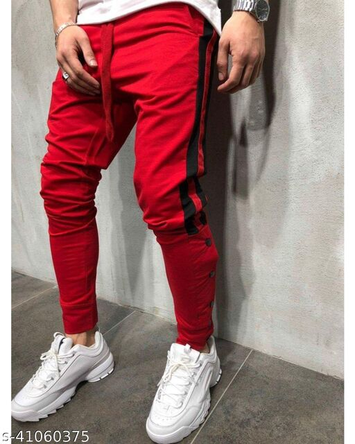 FLYNOFF Red Solid 4Way Lycra Tailored Fit Ankle Length Men's  Trouser