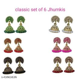 Latest Collection Set Of 6 Small Jhumkis for Girls and Woman (Khila Morr-6)