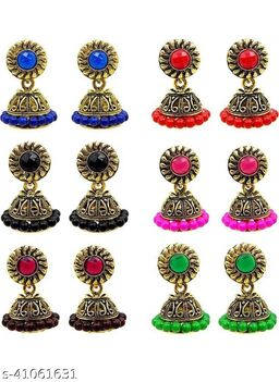 Latest Collection Multicolor Set Of 6 Small Jhumkis Combo for Girls and Woman (Design- Bindi 6)
