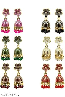 Latest Collection Multicolor Set Of 6 Small Jhumkis Combo for Girls and Woman (Design- Phool 6)