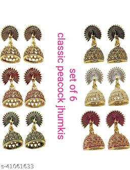 Latest Collection Set Of 6 Small Jhumkis for Girls and Woman (Subhag Morr-6)