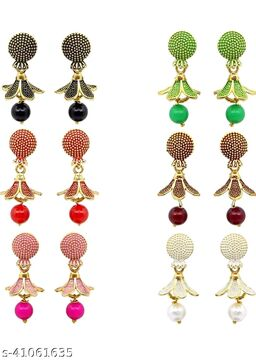 Latest Collection Multicolor Set Of 6 Small Jhumkis Combo for Girls and Woman (Design- Moti 6)