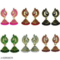 Latest Collection Multicolor Set Of 6 Small Jhumkis Combo for Girls and Woman (Design- Kaju 6)