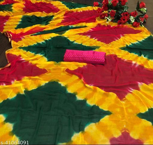 Yashvi Saree Trendy Pure Chiffon Saree With Brocade Blouse Piece