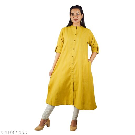 Sequin Crafts Women's Front Slit Prince Cut Handloon Kurti with One Side Pocket