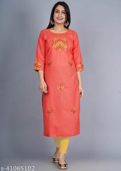Sequin Crafts Women Embroidered Straight Kurta (Pink)