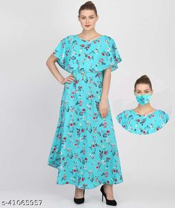 New Trendy Latest Women Flair Dresses With Mask