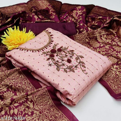 Eye Catching Embroidery Work Top and Jacquard Dupatta Unstitched Suit
