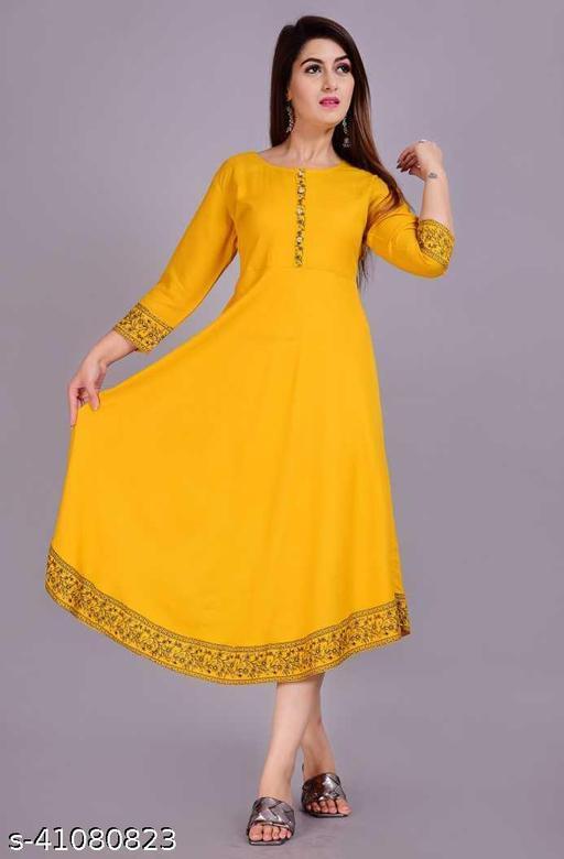 Beautiful Gold Printed Bordered Flared Kurti/Gown