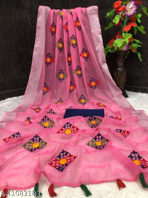 Fashion Lust Pink color chanderi cotton saree with zari patta