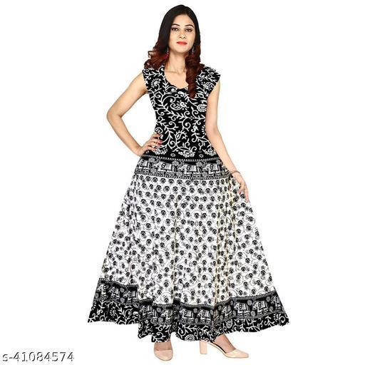 Women Self Design Cotton Printed Anrakali Kurta
