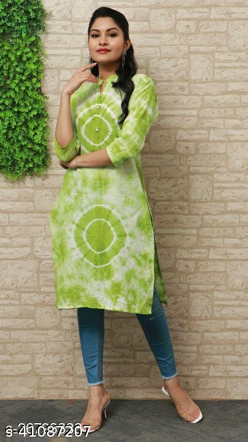 Women's Printed Cotton Kurti_Green