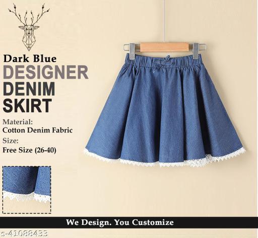 Designer Denim Lace Skirt