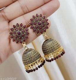 Latest Collection Sunflower Gold Jhumka earrings for Girls and Woman (Maroon Color)