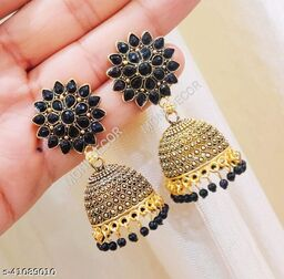 Latest Collection Sunflower Gold Jhumka earrings for Girls and Woman (Black Color)