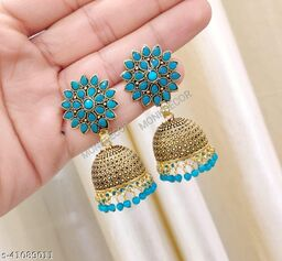 Latest Collection Sunflower Gold Jhumka earrings for Girls and Woman (Firozi Color)