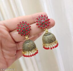 Latest Collection Sunflower Gold Jhumka earrings for Girls and Woman (Red Color)