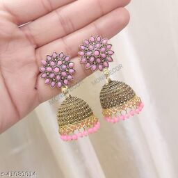 Latest Collection Sunflower Gold Jhumka earrings for Girls and Woman (Pink Color)