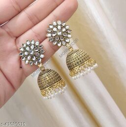 Latest Collection Sunflower Gold Jhumka earrings for Girls and Woman (White Color)