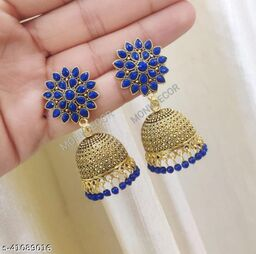 Latest Collection Sunflower Gold Jhumka earrings for Girls and Woman (Blue Color)