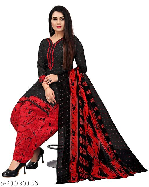 Anny Deziner Women's Red  Cotton Printed Unstitched Salwar Suit Material
