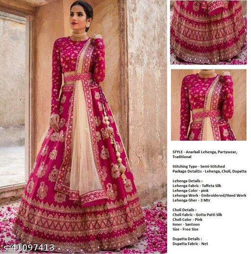Women's Pink Taffeta Silk  Semi-Stitched Semi-Stitched Lehenga Choli