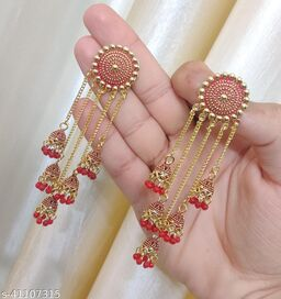 Latest Collection 5 Layer Latkan Jhumka earrings for Girls and Woman (Red Color)
