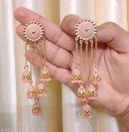 Latest Collection 5 Layer Latkan Jhumka earrings for Girls and Woman (Peach Color)
