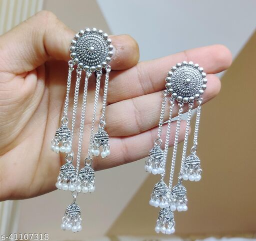 Latest Collection 5 Layer Latkan Jhumka earrings for Girls and Woman (Silver Color)
